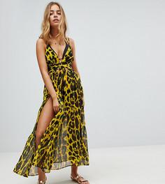 Шифоновое пляжное платье макси с гепардовым принтом ASOS PETITE - Мульти