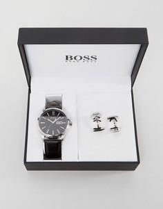 Часы с кожаным ремешком и запонки в подарочном наборе BOSS By Hugo Boss - Черный