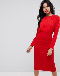 Платье-футляр из разных тканей с присборенным топом ASOS - Красный