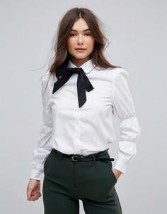 Рубашка со сборками на рукавах и контрастной завязкой Parisian - Белый