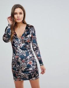 Бархатное облегающее платье с цветочным принтом Parisian - Зеленый