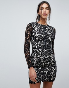Кружевное цельнокройное платье Parisian - Черный