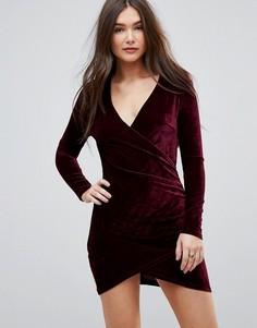 Бархатное платье с запахом Parisian - Красный