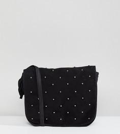 Замшевая сумка через плечо с заклепками Reclaimed Vintage Inspired - Черный