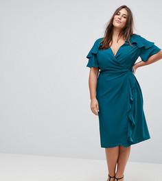 Платье миди с запахом и оборками на рукавах ASOS CURVE - Зеленый