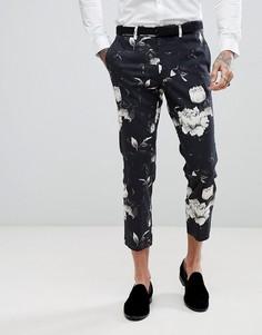 Облегающие укороченные брюки с принтом ASOS - Черный