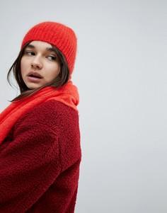 Шапка-бини с добавлением мохера Weekday - Красный