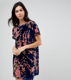 Бархатное платье-футболка в стиле оверсайз с цветочным принтом Glamorous Tall - Темно-синий