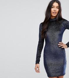 Бархатное облегающее платье с высоким воротом и отделкой блестками Glamorous Tall - Темно-синий