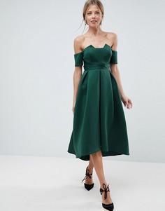 Платье миди для выпускного с открытыми плечами и складками на талии ASOS - Зеленый