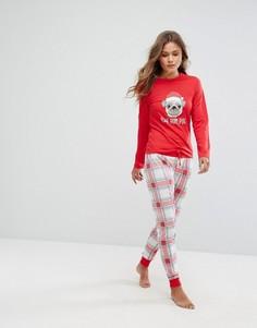 Пижама с надписью Bah Humpug Loungeable - Красный