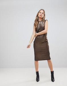Платье миди с эффектом металлик The Fifth Rather Be - Медный