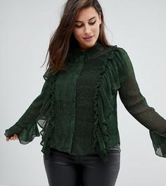 Блестящая блузка в рубчик с оборками Unique 21 Hero - Зеленый