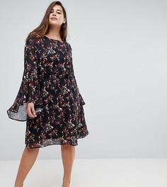 Свободное платье с цветочным принтом и расклешенными рукавами Unique 21 Hero - Черный
