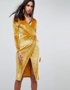 Золотистое бархатное платье миди с запахом ASOS - Золотой