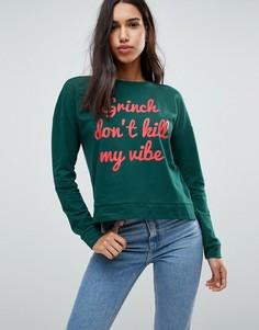 Новогодний свитшот с надписью Grinch Dont Kill My Vibe Only - Зеленый
