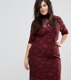 Кружевное платье-футляр с завязкой на спине Lovedrobe - Красный