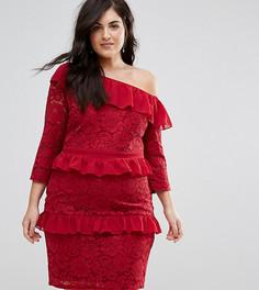 Кружевное платье-футляр на одно плечо с рюшами Lovedrobe - Красный