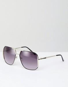 Квадратные солнцезащитные очки в серебристой оправе AJ Morgan Dsico - Серебряный