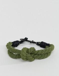 Зеленый плетеный браслет с якорем Icon Brand - Зеленый