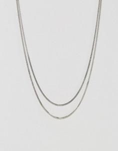Ожерелье из двух цепочек Icon Brand - Серебряный