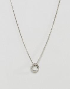 Серебристое ожерелье с восьмиугольной подвеской Icon Brand - Серебряный