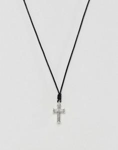 Черное кожаное ожерелье с крестиком Icon Brand - Серебряный
