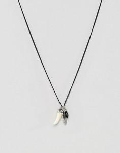 Черное матовое ожерелье с подвеской-пером Icon Brand - Черный