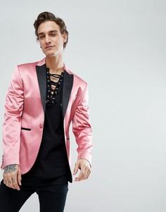 Розовый атласный приталенный блейзер ASOS - Розовый