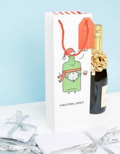 Новогодний подарочный пакет для бутылки вина с надписью Ohh Deer - Мульти
