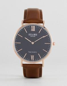 Часы с коричневым кожаным ремешком Reclaimed Vintage Inspired - Черный