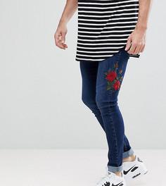 Синие облегающие джинсы с вышитыми розами Brooklyn Supply Co - Синий