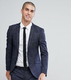 Приталенный пиджак с принтом Heart & Dagger - Темно-синий