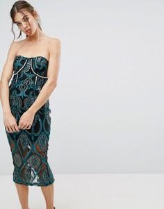 Платье-бандо миди с вышивкой PrettyLittleThing Premium - Черный