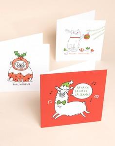 Набор из 6 открыток с новогодними персонажами Ohh Deer x Gemma Correll - Мульти