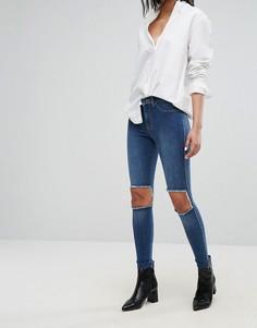 Супероблегающие джинсы с вырезами на коленях Dr Denim - Синий