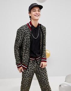 Трикотажная спортивная куртка с леопардовым принтом и эффектом металлик ASOS - Золотой