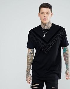 Черная удлиненная свободная футболка с бахромой из искусственной замши ASOS - Черный