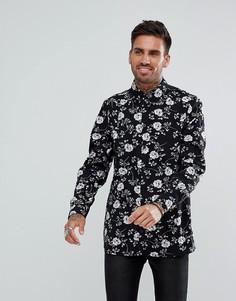 Черная рубашка классического кроя с принтом листьев boohooMAN - Черный