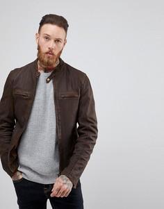 Коричневая кожаная куртка с воротником на пуговице Goosecraft Washingon - Коричневый