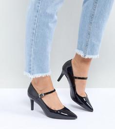 Лакированные туфли-лодочки Мэри Джейн для широкой стопы с острым носом New Look - Черный
