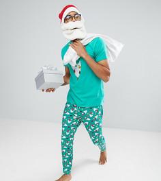 Новогодняя пижама с принтом бороды Санты Off-Duty - Зеленый
