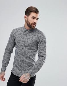 Двусторонняя зауженная рубашка с камуфляжным принтом HUGO - Черный