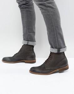Серые кожаные ботинки на шнуровке BOSS Casual Varadero - Серый