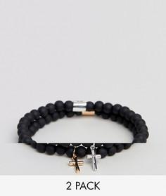 Набор браслетов с бусинами и крестиком (2 шт.) Chained & Able - Мульти