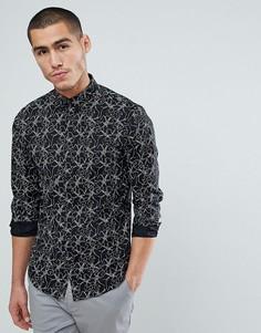 Приталенная рубашка с принтом Jack & Jones Premium - Черный