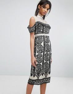 Облегающее платье с вышивкой Elliatt - Черный