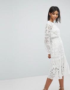 Кружевное платье миди Elliatt - Белый