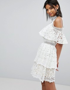 Кружевное платье с оборкой Elliatt - Белый