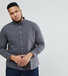 Темно-серая оксфордская рубашка узкого кроя Farah PLUS - Серый